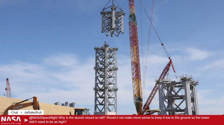 Стартовая башня SpaceX Starship выросла более чем на половину своей высоты