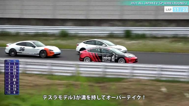 Tesla Model 3 непобедима против Porsche Taycan Turbo S на Гран-при Японии по электромобилям