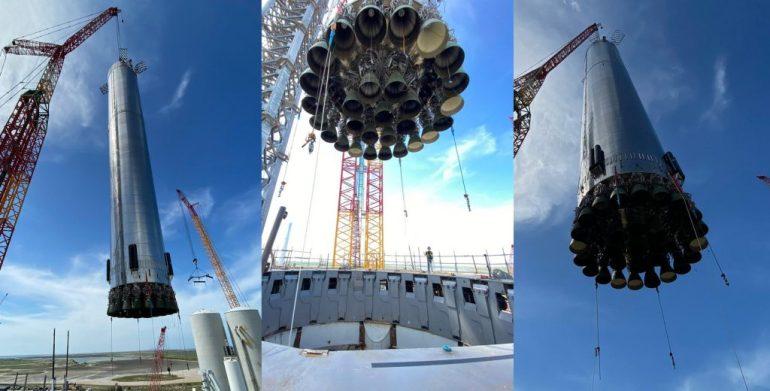 SpaceX устанавливает ускоритель на стартовую площадку и поднимает орбитальный звездолет на полную высоту