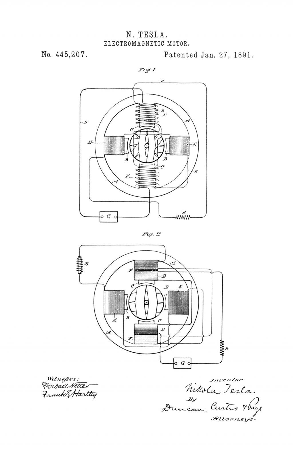 nikola tesla u s patent 445 207 electro magnetic motor [ 1024 x 1587 Pixel ]