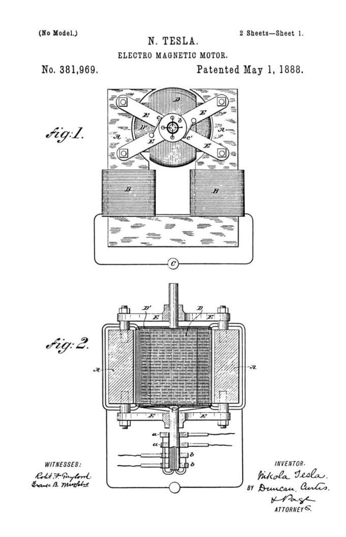 Nikola Tesla Patente de EE. UU. 381,969 - Motor electromagnético - Imagen 1