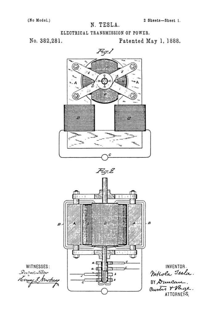 Nikola Tesla Patente de EE. UU. 382.281 - Transmisión eléctrica de potencia - Imagen 1