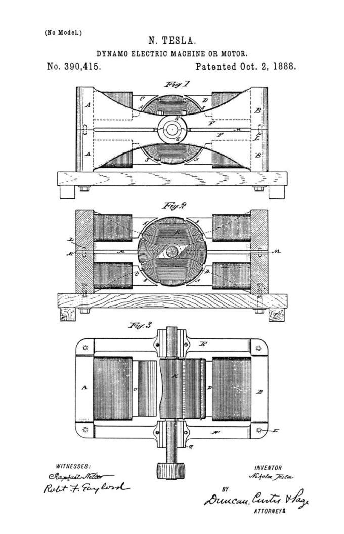 Nikola Tesla Patente de EE. UU. 390.415 - Máquina o motor dinamoeléctrico - Imagen 1
