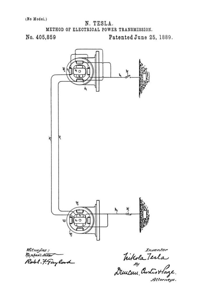 Nikola Tesla Patente estadounidense 405,859 - Método de transmisión de energía eléctrica - Imagen 1