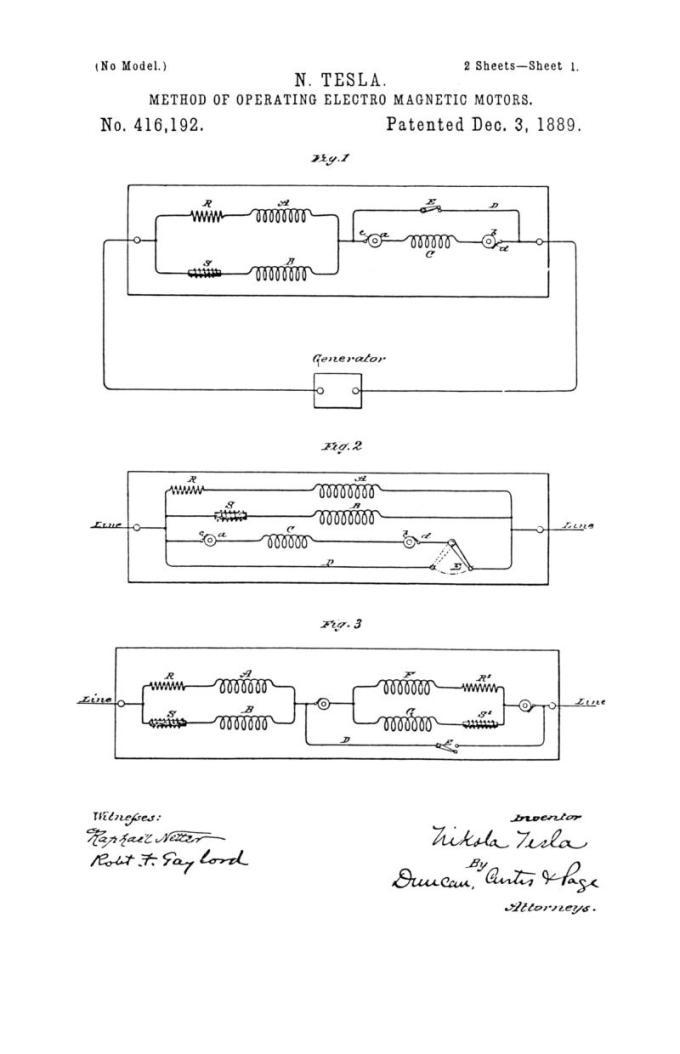 Nikola Tesla Patente de EE. UU. 416.192 - Método de funcionamiento de motores electromagnéticos - Imagen 1