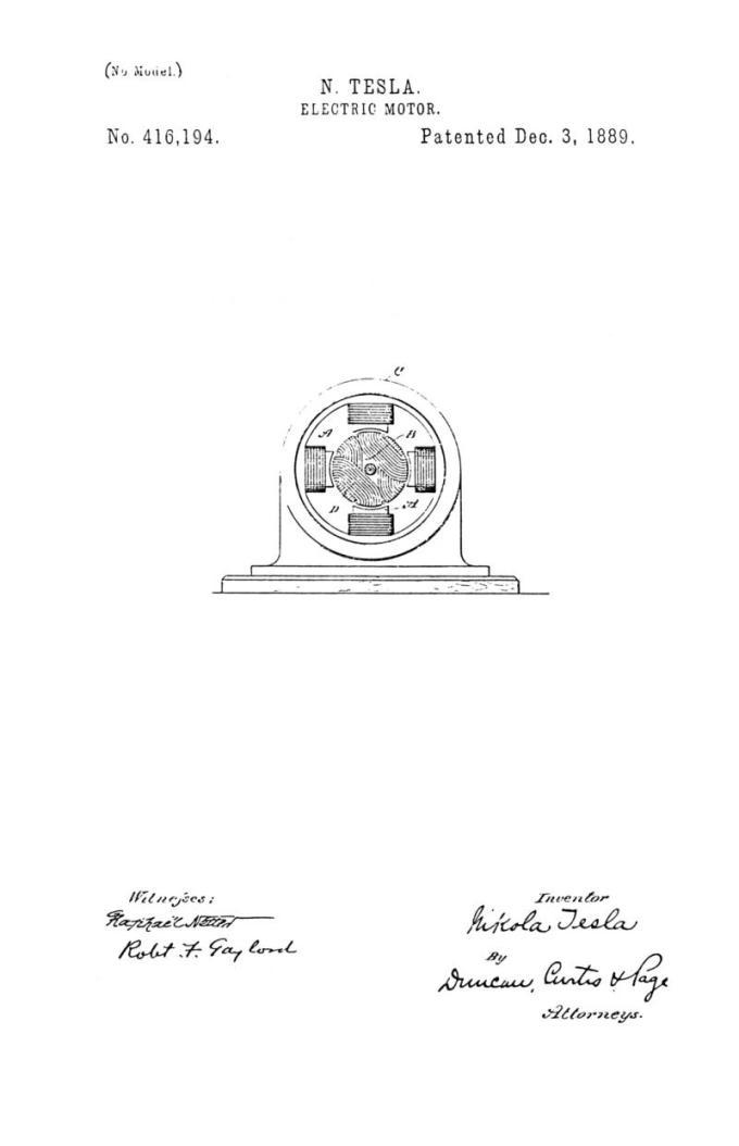 Nikola Tesla Patente de EE. UU. 416,194 - Motor eléctrico - Imagen 1