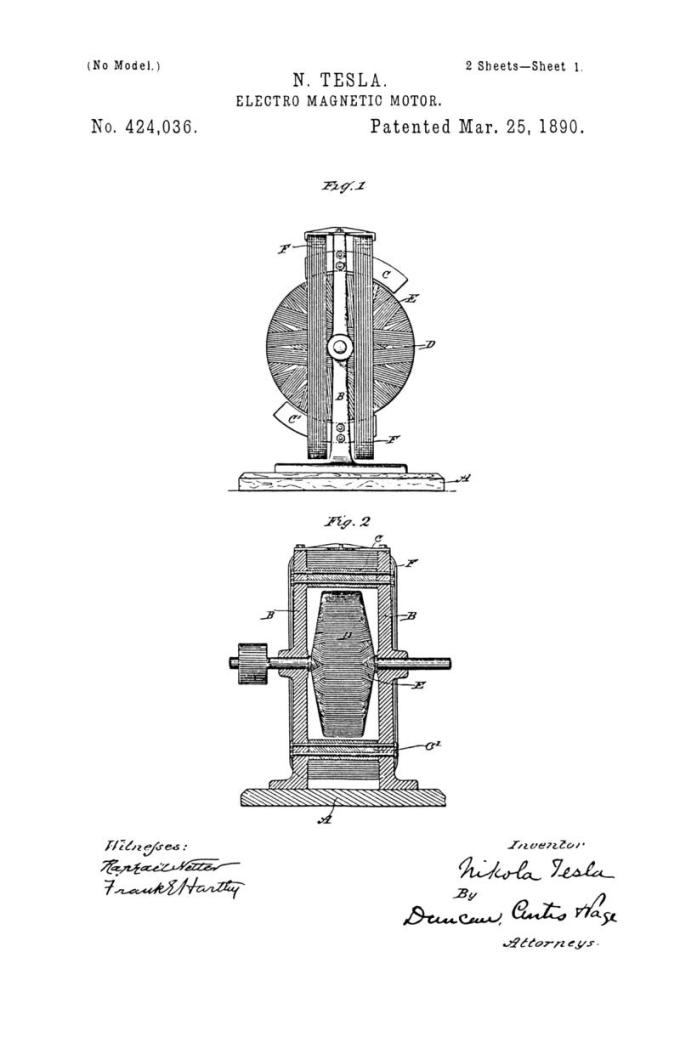 Nikola Tesla Patente de EE. UU. 424,036 - Motor electromagnético - Imagen 1