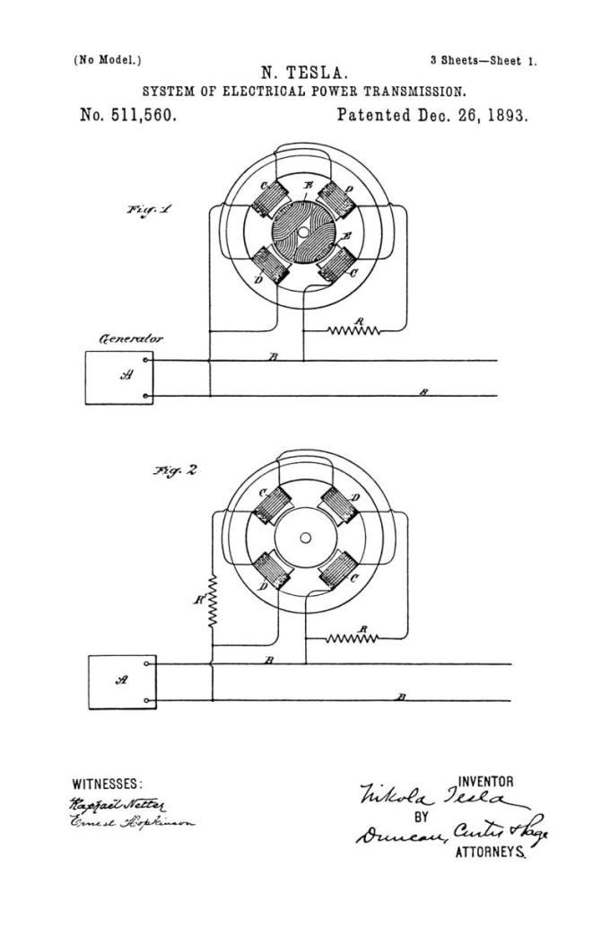 Nikola Tesla Patente de EE. UU. 511,560 - Sistema de transmisión de energía eléctrica - Imagen 1
