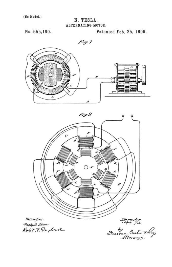 Nikola Tesla Patente de EE. UU. 555,190 - Motor alterno - Imagen 1