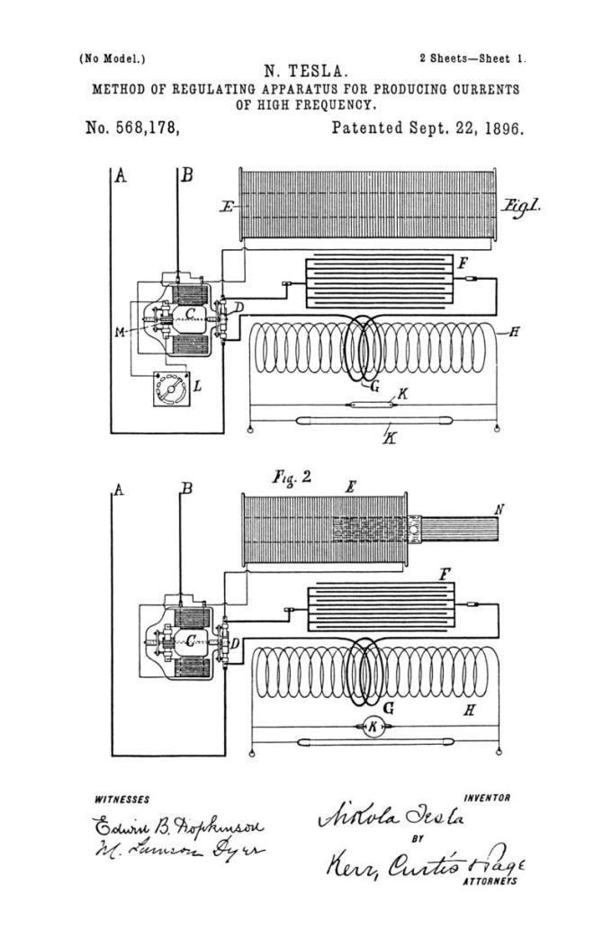 Nikola Tesla Patente de los Estados Unidos 568.178 - Método de regulación de un aparato para producir corrientes eléctricas de alta frecuencia - Imagen 1