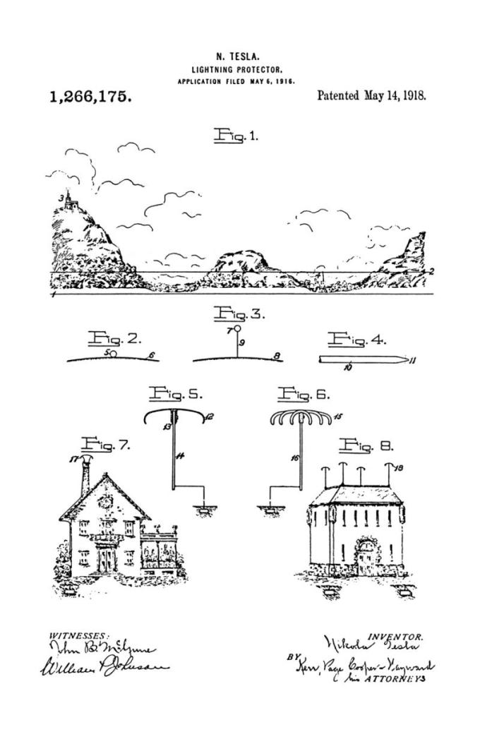Nikola Tesla Patente de EE. UU. 1.266.175 - Protector contra rayos - Imagen 1
