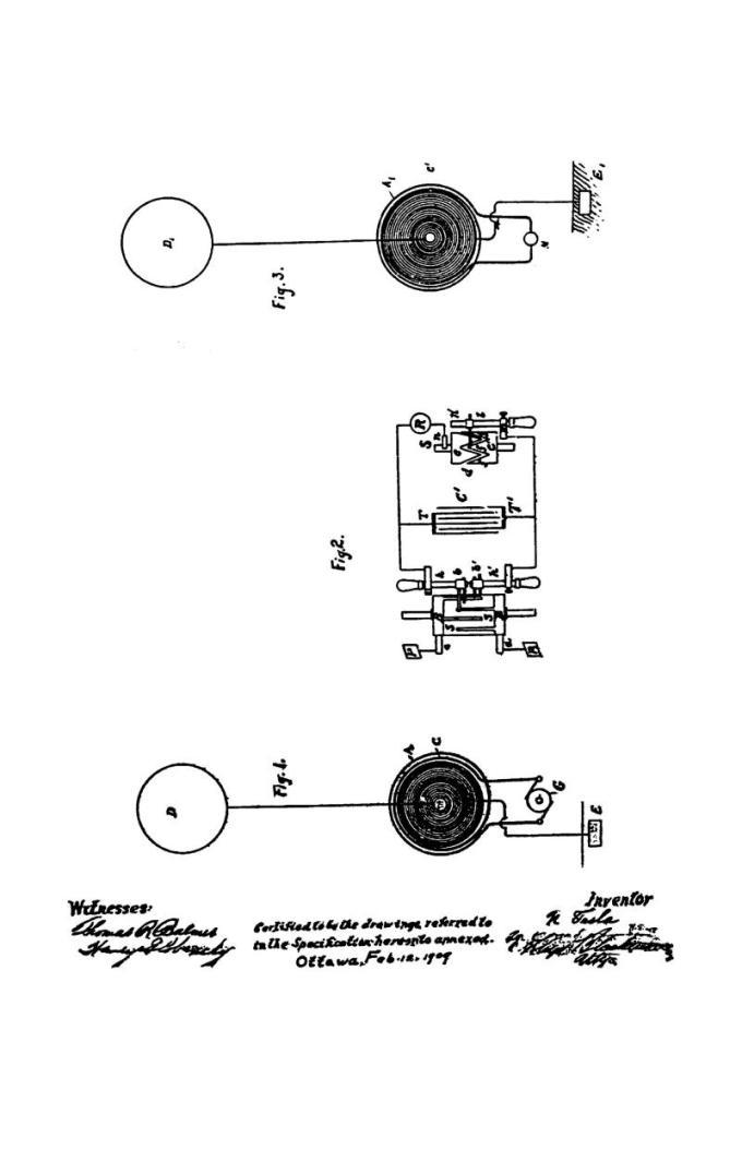 Patente canadiense Nikola Tesla 142352 - Arte de transmitir energía eléctrica a través de medios naturales - Imagen 1