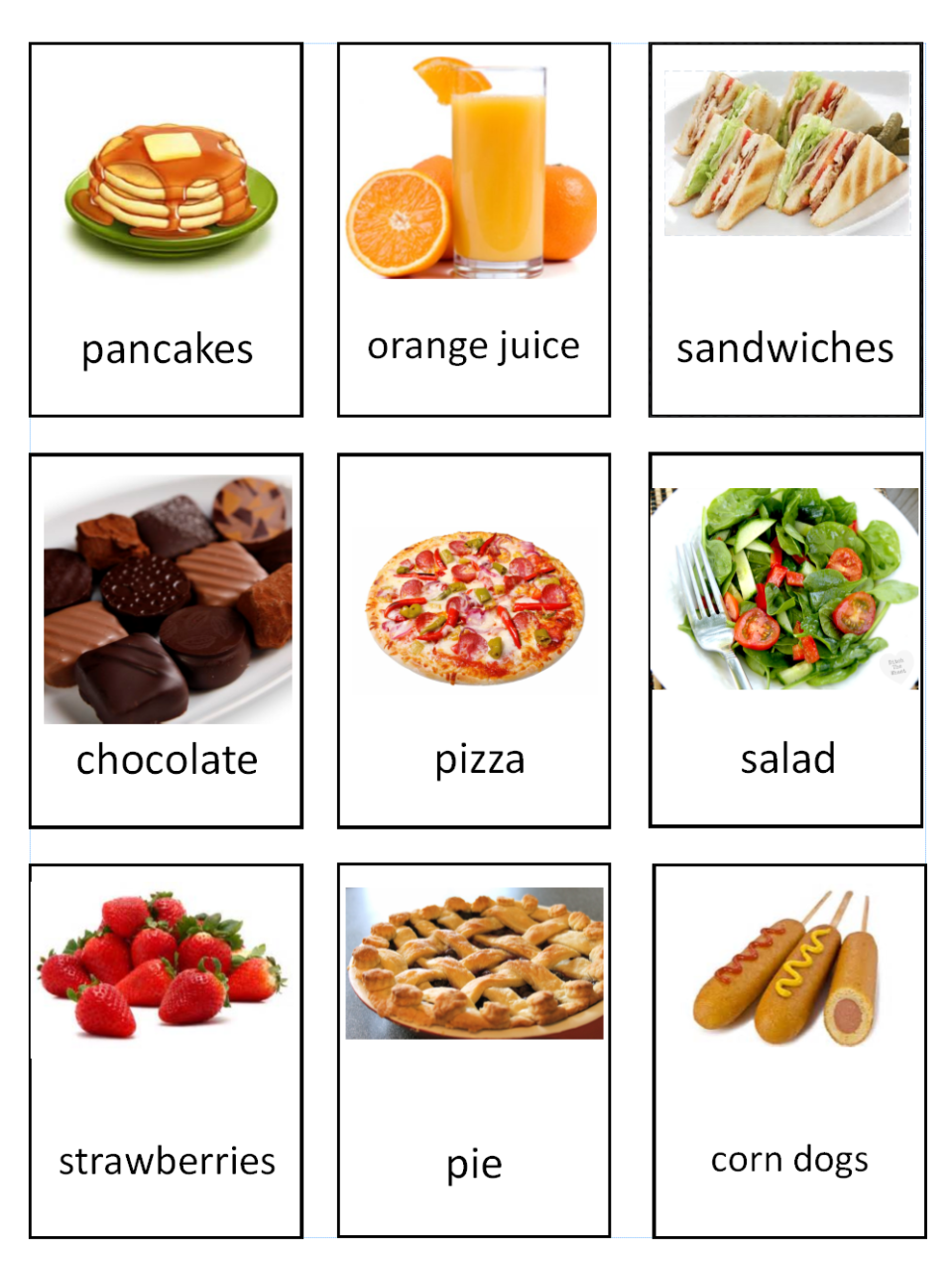 Food Vocabulary Cards