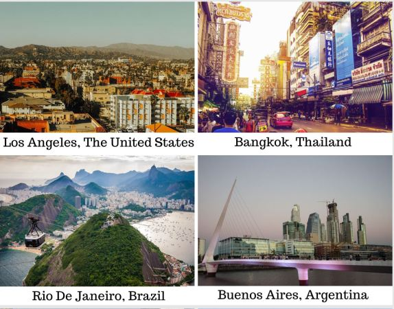 Pictures of Los Angeles, United States, Bangkok, Thailand, Rio De Janeiro, Brazil, and Buenos Aires, Argentina