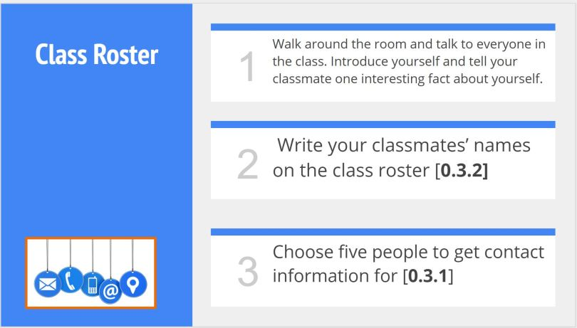 Class Roster activity for first day of class