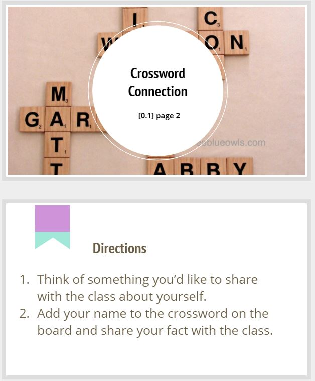 Crossword Connection Activity