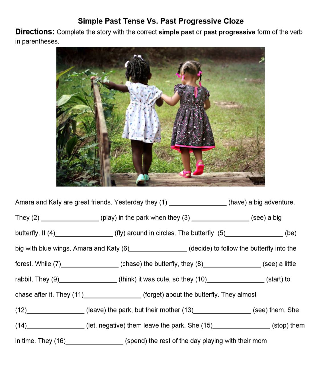 hight resolution of Simple Past Tense Cloze Paragraphs - TESOL Planner