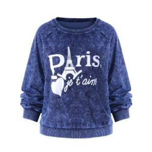 Graphic Print Raglan Sleeve Velvet Sweatshirt
