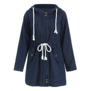 Stylish Long Sleeve Hooded Drawstring Women's Mid Length Coat