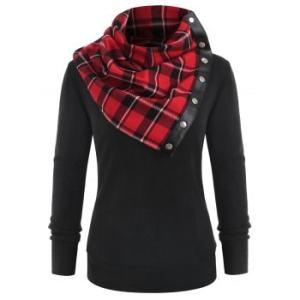 Plain Sweatshirt and Tartan Neck Gaiter