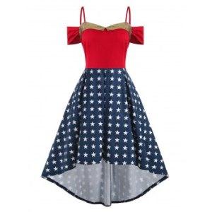 Stars Open Shoulder High Low Cami Plus Size Dress