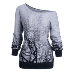 Halloween Skew Neck 3D Tree Print Sweatshirt