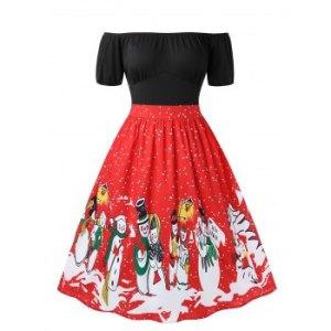 Plus Size Off The Shoulder Snowman Print Christmas Dress