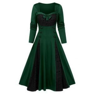 Halloween Skull Lace Insert Mock Button Bowknot Dress