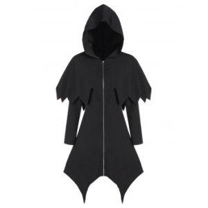 Hooded Zipper Asymmetric Gothic Capelet Handkerchief Coat