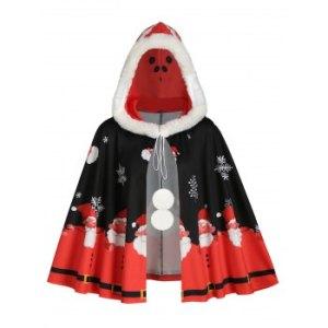 Faux Fur Trim Hooded Christmas Snowflake Santa Claus Plus Size Cape