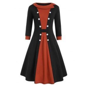 Plus Size Colorblock Buttons Round Neck Dress