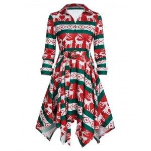 Elk Print Belted Front Zip A Line Dress