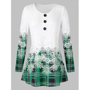 Plus Size Plaid Snowflake Print Christmas T Shirt