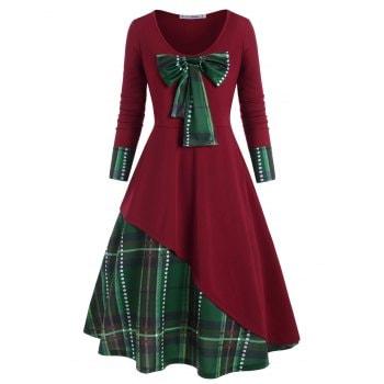 Plus Size Detachable Bowknot Plaid Christmas Dress