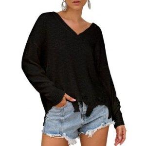 Drop Shoulder Raw Hem V Neck Sweater