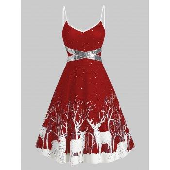 Sequined Reindeer Print Mini Cami Dress