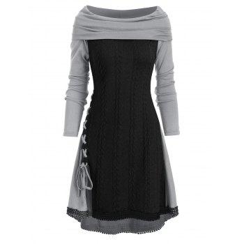 Cowl Neck Lace Up Guipure Panel Longline Knitwear