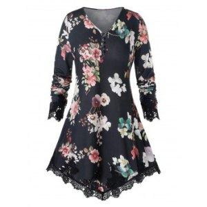 Plus Size Floral Print Lace Hem T Shirt