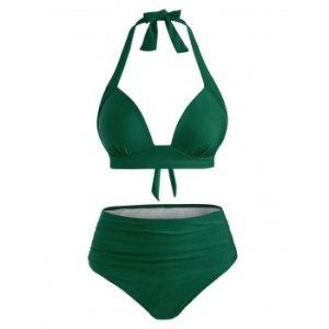 Ruched Push Up High Waisted Bikini Swimsuit