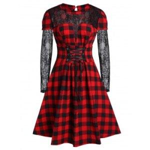 Plus Size Lace Up Plaid A Line Dress
