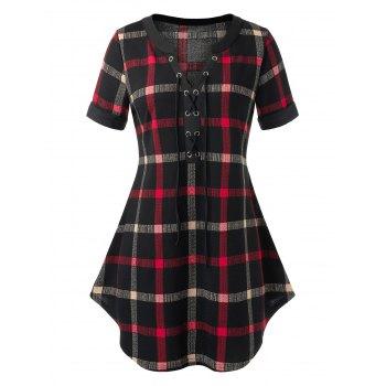 Plus Size Plaid Print Lace-up Curved Hem T-shirt