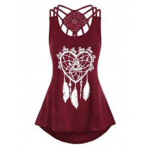 Heart Feather Print High Low Tank Top