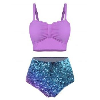 Printed Scalloped Knotted Bikini Swimwear