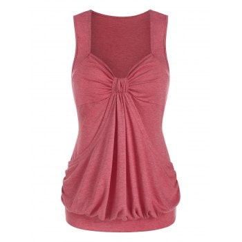 Ruched Marled Blouson Tank Top