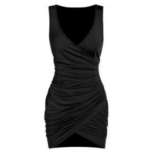 Sleeveless Ruched Surplice Sheath Dress