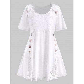 Plus Size Lace Insert Mock Button T-shirt