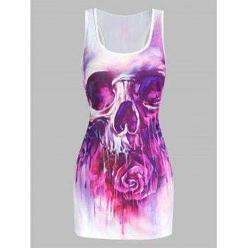 Skull Flower Print Slimming Tank Top