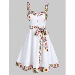 Floral Trim Mock Button Sleeveless Flare Dress