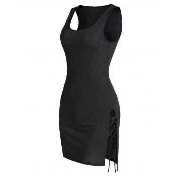 Side Slit Lace-up Heathered Sheath Tank Dress