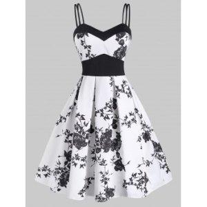 Butterfly Print Empire Waist Dual Straps Dress